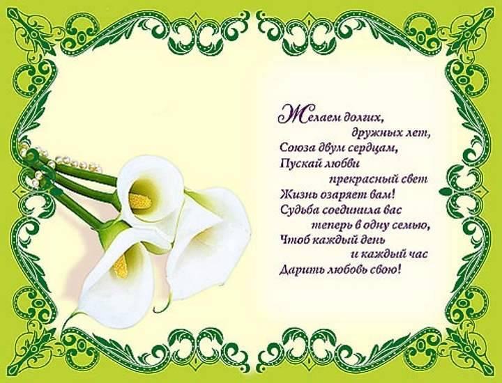 Стихотворные поздравления молодоженам от родителей, друзей и родных