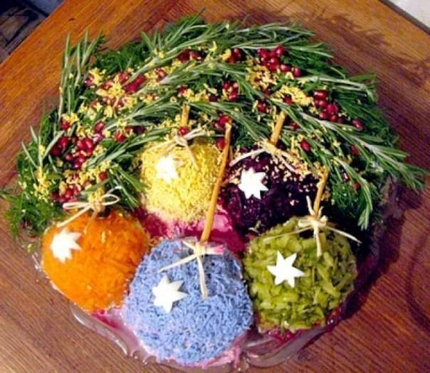 Какое украшение салатов на Новый год  выбрать и от чего это будет зависеть