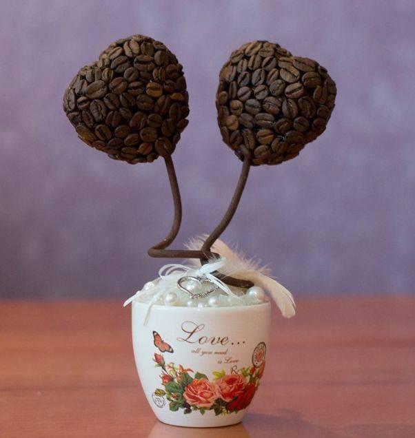Топиарий своими руками из кофе — для оригинального подарка и украшения интерьера