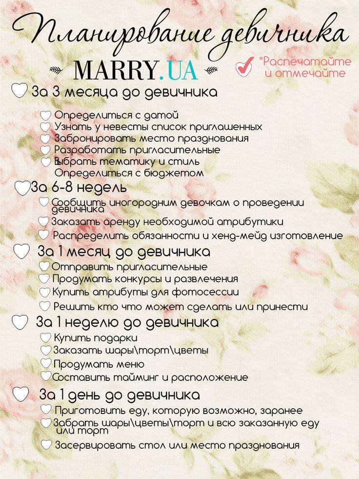 Составляем грамотный план свадьбы