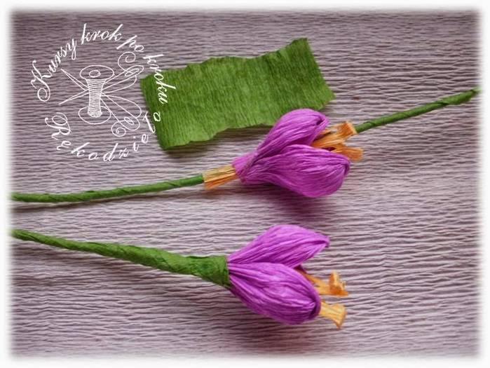 Нежные крокусы из гофрированной бумаги – подарите дыхание весны